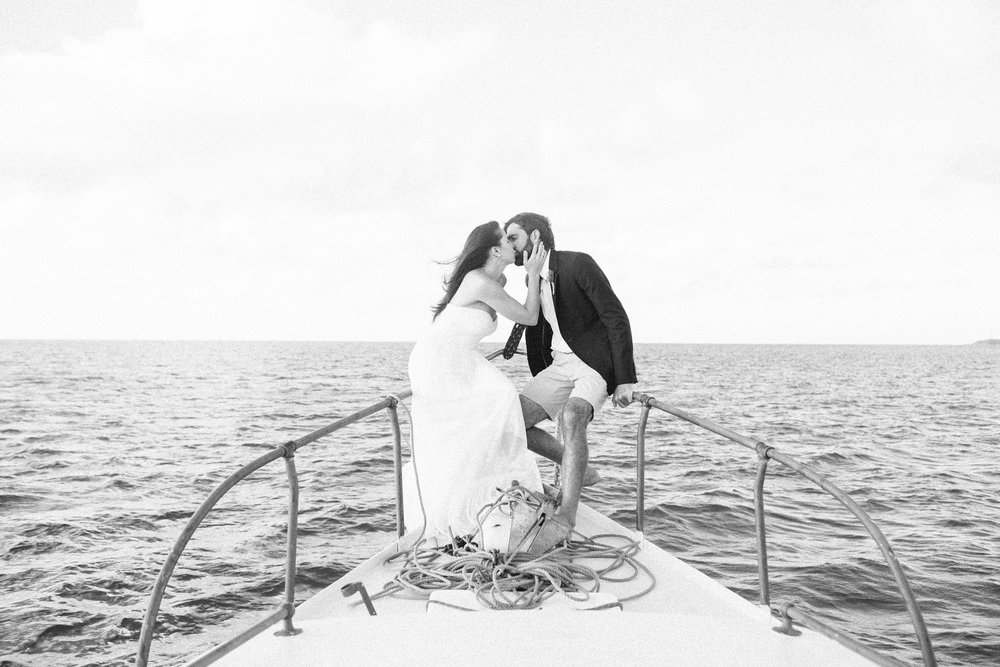 Jim (Captain of Early Bird Charters) & Melanie (Photographer of Fiander Foto) aboard Troubadour for Their Wedding. Photo by: Corbin Gurkin