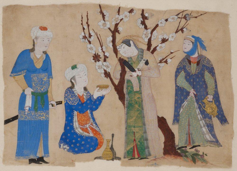 possibly Tabriz, Wine Drinking in a Spring Garden, ca. 1430. Image courtesy of Metropolitan Museum of Art.