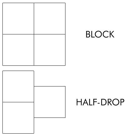 In a half-drop layout, the horizontal repeat drops halfway down the length of the repeat, creating diagonal movement.