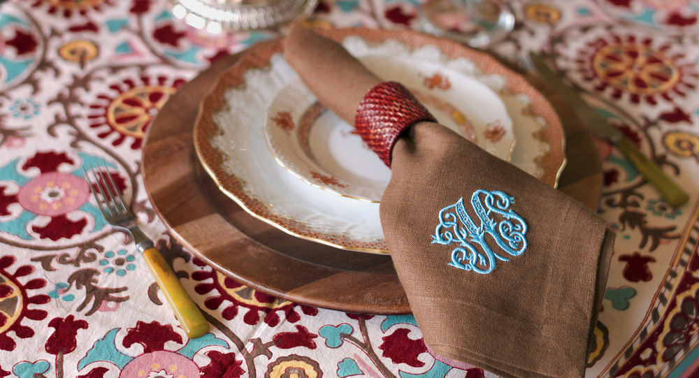 A sampling of monogram work by Leontine Linens