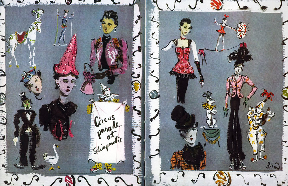 Artist Christian Berard frequently illustrated Schiaparelli's pieces.