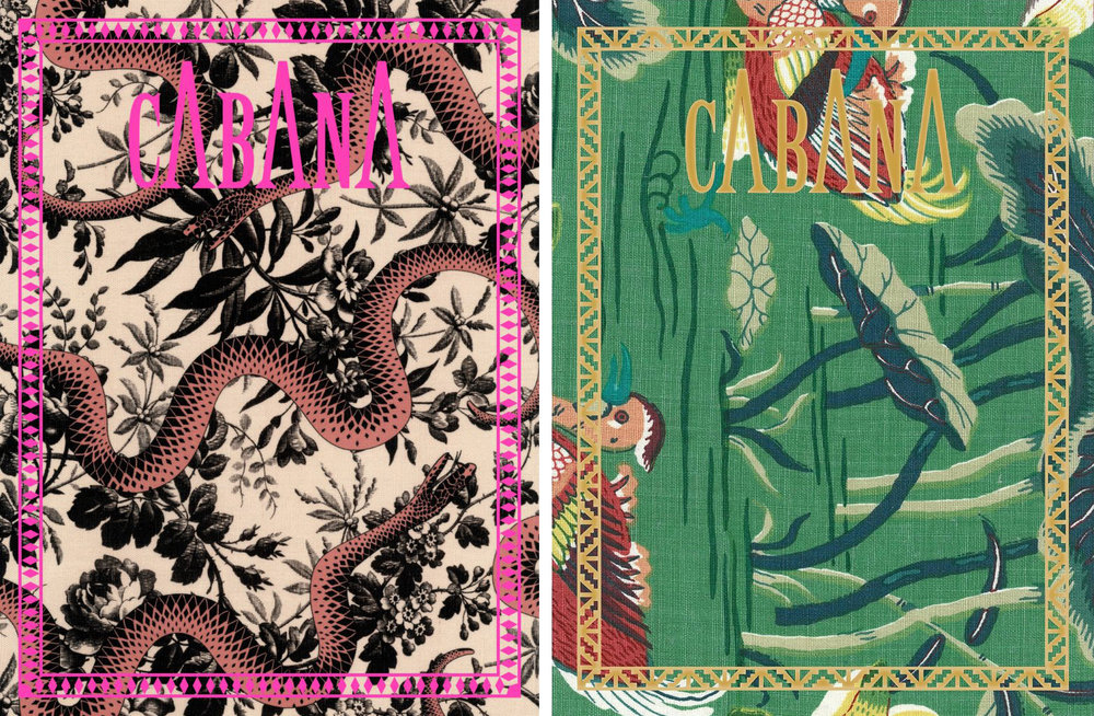 Cabana Magazine covers by Gucci, left, and Schumacher, right.