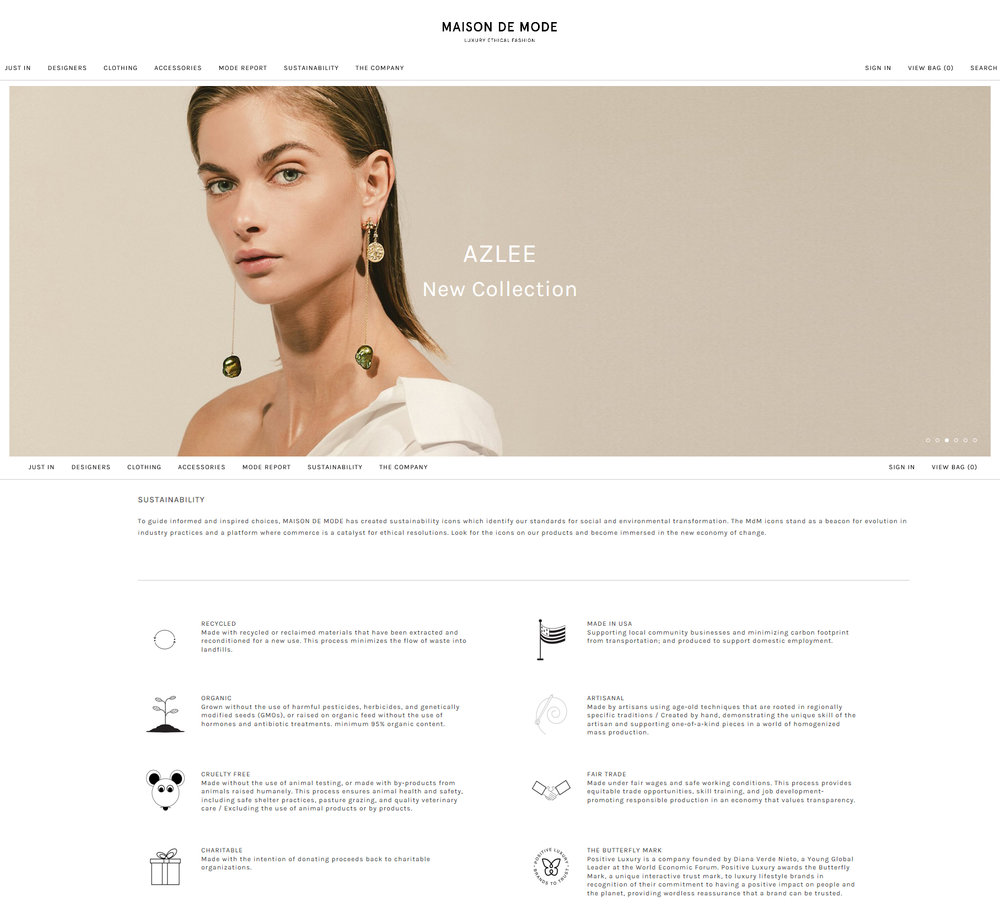 Maison de Mode 's icons that indicate various values customers can shop by.