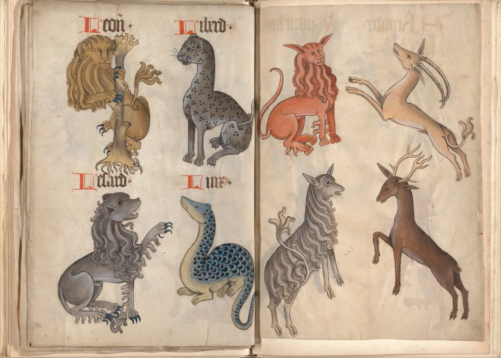 Another page from the bestiary section of Helmingham's volume, showing, among others, a Lion and a Leopard at the top left.