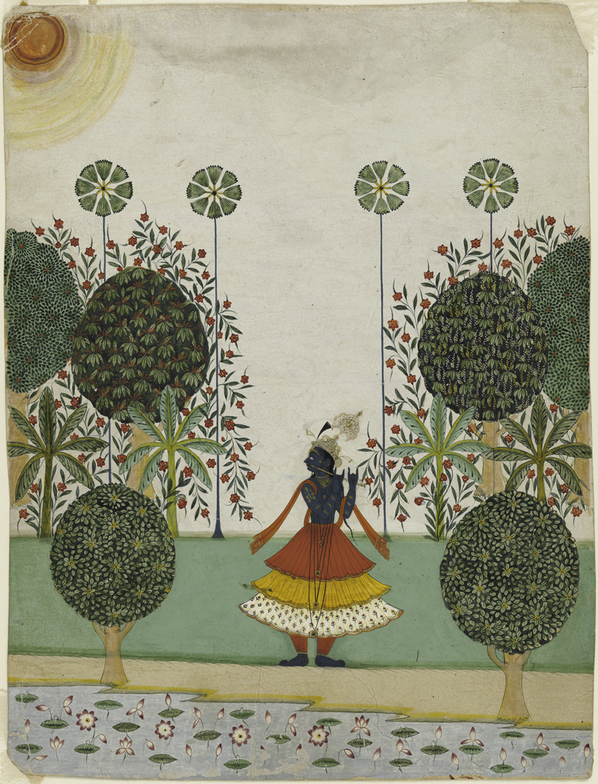 Krishna Fluting in the Forest , Rajasthan, circa 1720-40.  Image from  The Harvard Gazette .