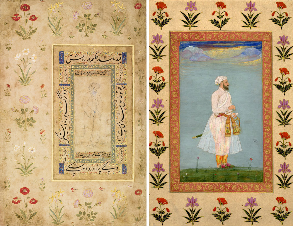 Left: Page with a Safavid drawing from an album made for Emperor Shah Jahan, Persia and India, circa 1625-50, image courtesy of Sotheby's.