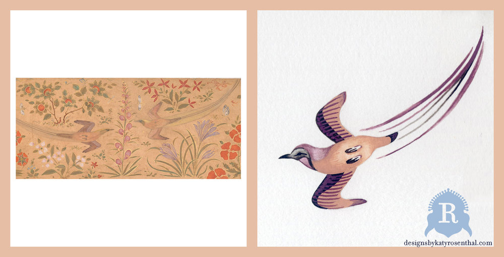 The specific section from the above folio that inspired the birds in the corners of The 'Chai Botanical' Scarf, the original painting for which is shown on the right.