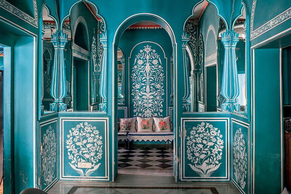 A section of  Bar Palladio  Jaipur, a restaurant and lounge located within Narain Niwas Palace Hotel.  Designed by Marie-Ann Oudejans.