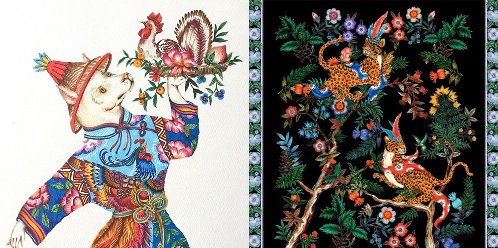 On left, a Lunar New Year illustration, on right, artwork created for Vampye.