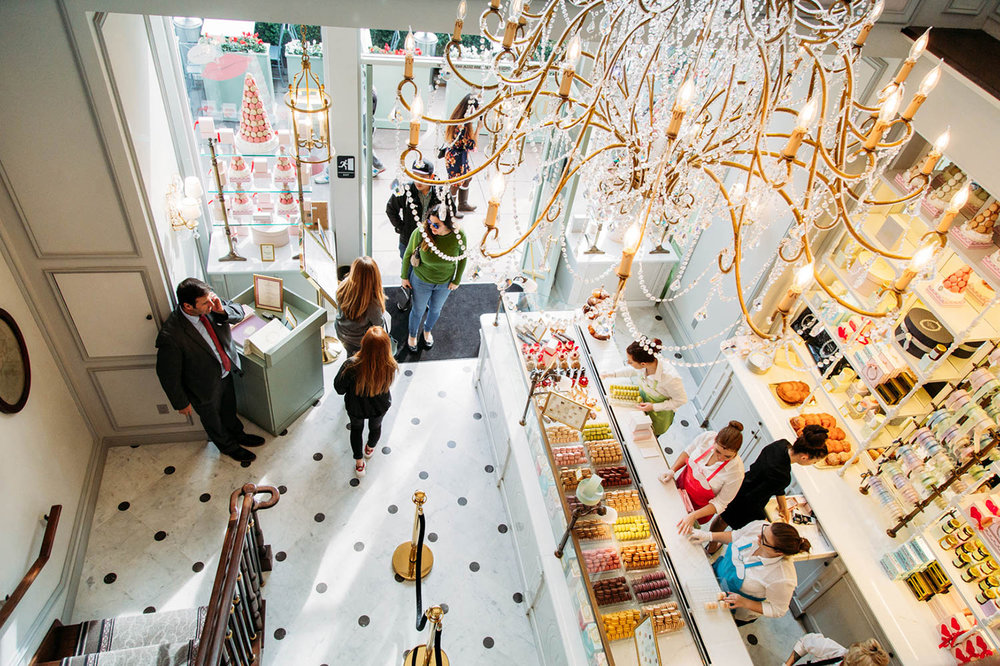 A bird's-eye-view of the Ladurée at the The Grove in West Hollywood, CA from  Brooke du Jour .