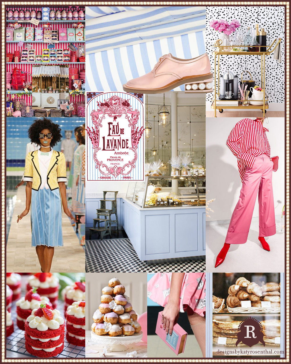 The inspiration board I created to reference for design decisions while creating the 'La Petite Patisserie' scarf.