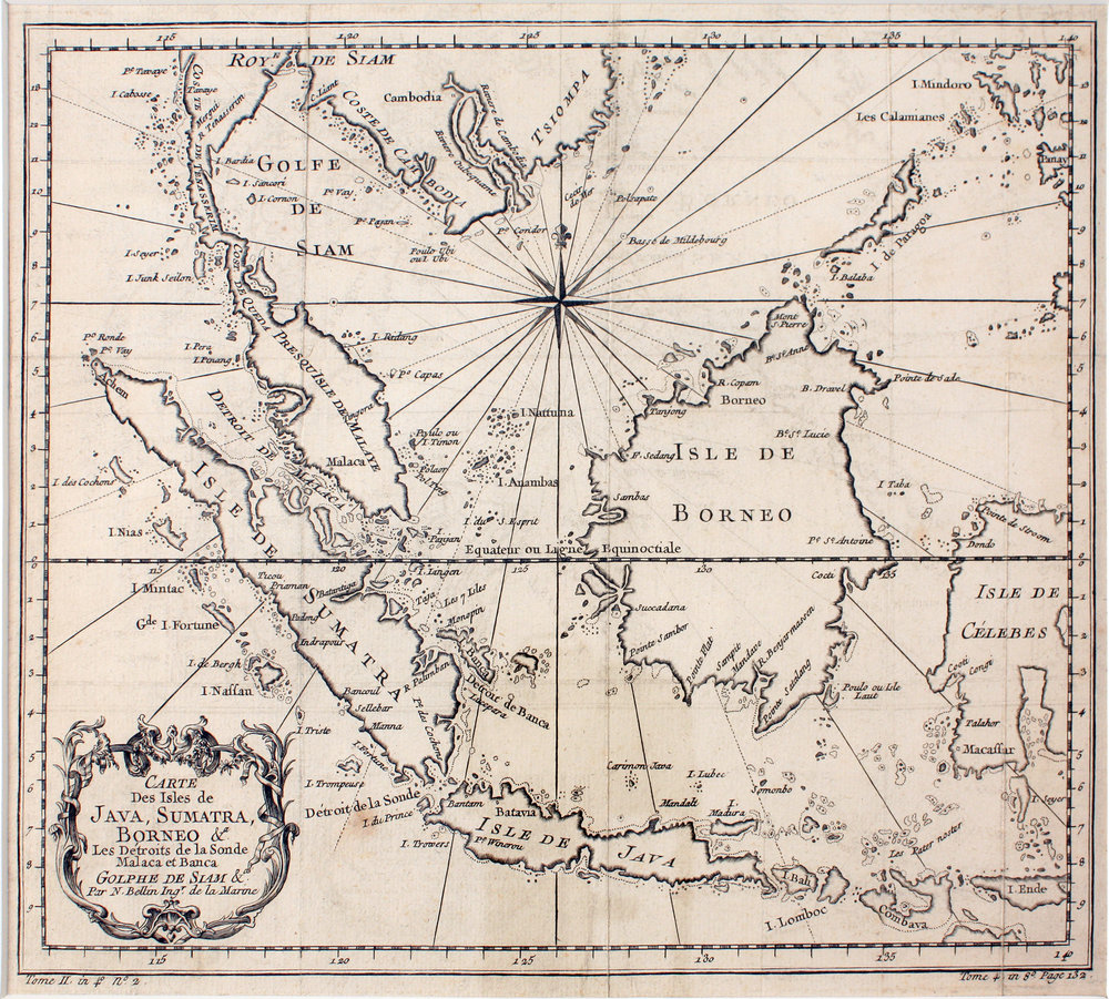 A map of the islands of Java, Sumatra, & Borneo, circa 1747, from  Bartele Gallery .