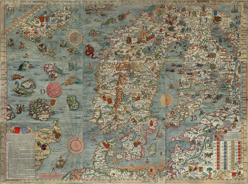 The Carta Marina map, Olaus Magnus, 1539.