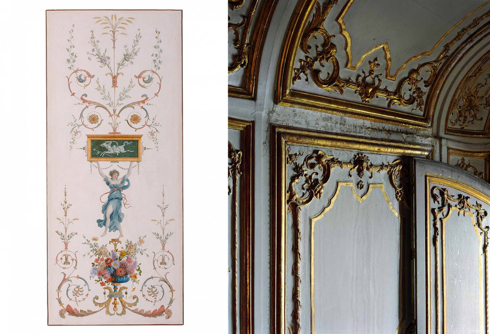Left: A decorative panel, French, 1785.  From the Musee des Arts Decoratifs.  Right: A photo of decorative, gilded, carved wood paneling at Versailles, taken by Robert Polidori.
