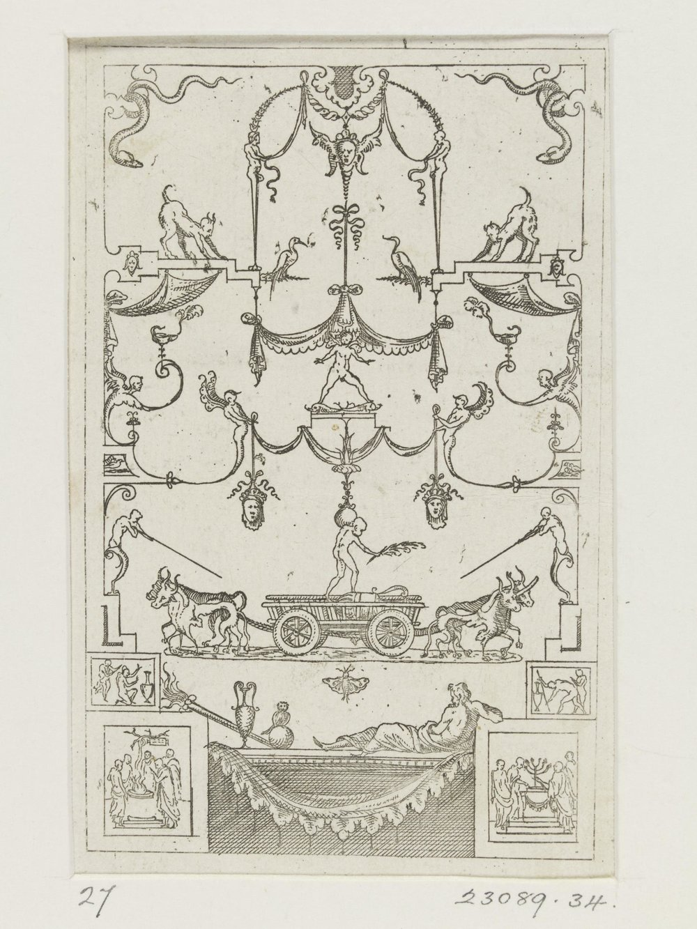 Design for grotesque arabesque panel, etching by Jacques Androuet Du Cerceau, 1550.  From the Victoria and Albert Museum.