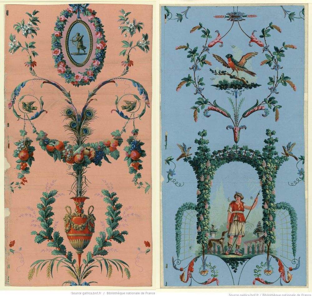 Arabesque panel inspired wallpaper designs by French manufacturer Jacquemart et Bénard, active 1791–1809.