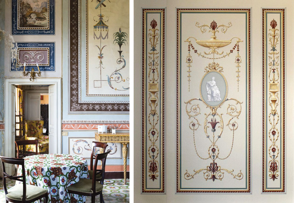 Left: Villa Valguarnera, image from Conde Nast Traveller.  Right: Paul Montgomery Studio's  Woodham  design, inspired by Robert Adam's works from the Georgian era.
