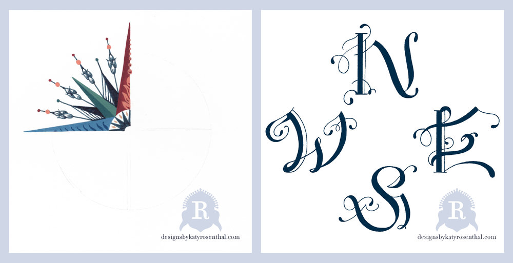 Original motifs created for the Compass Rose Scarf—on left, the compass rose itself, which was painted as a quarter and then copied and rotated to complete the circle on Photoshop.  On right, my lettering designs.