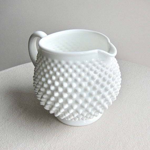 Fenton Company hobnail milk glass pitcher from the 1960s