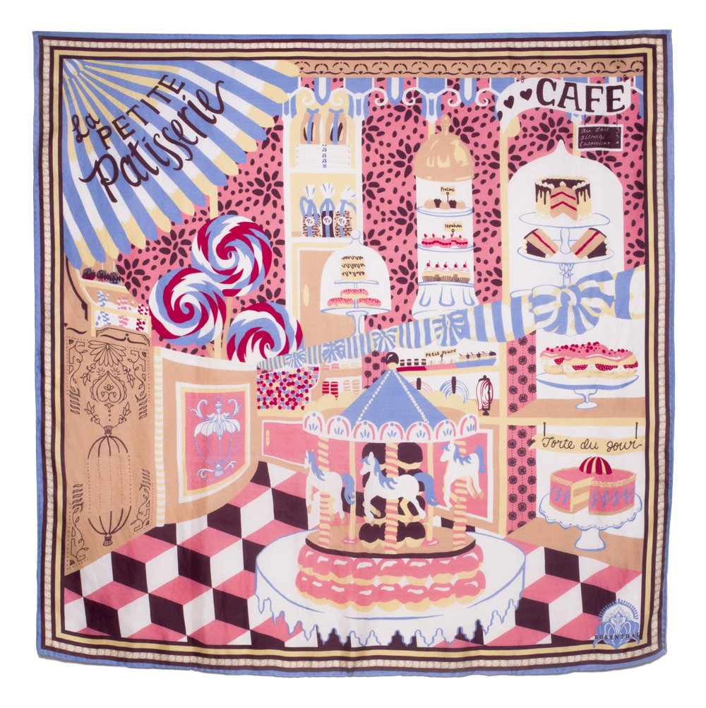 'La Petite Patisserie' Scarf - All the most delightfully whimsical and indulgent elements of an age gone by combine to form a dreamy patisserie. Shop 'La Petite Patisserie' Scarf