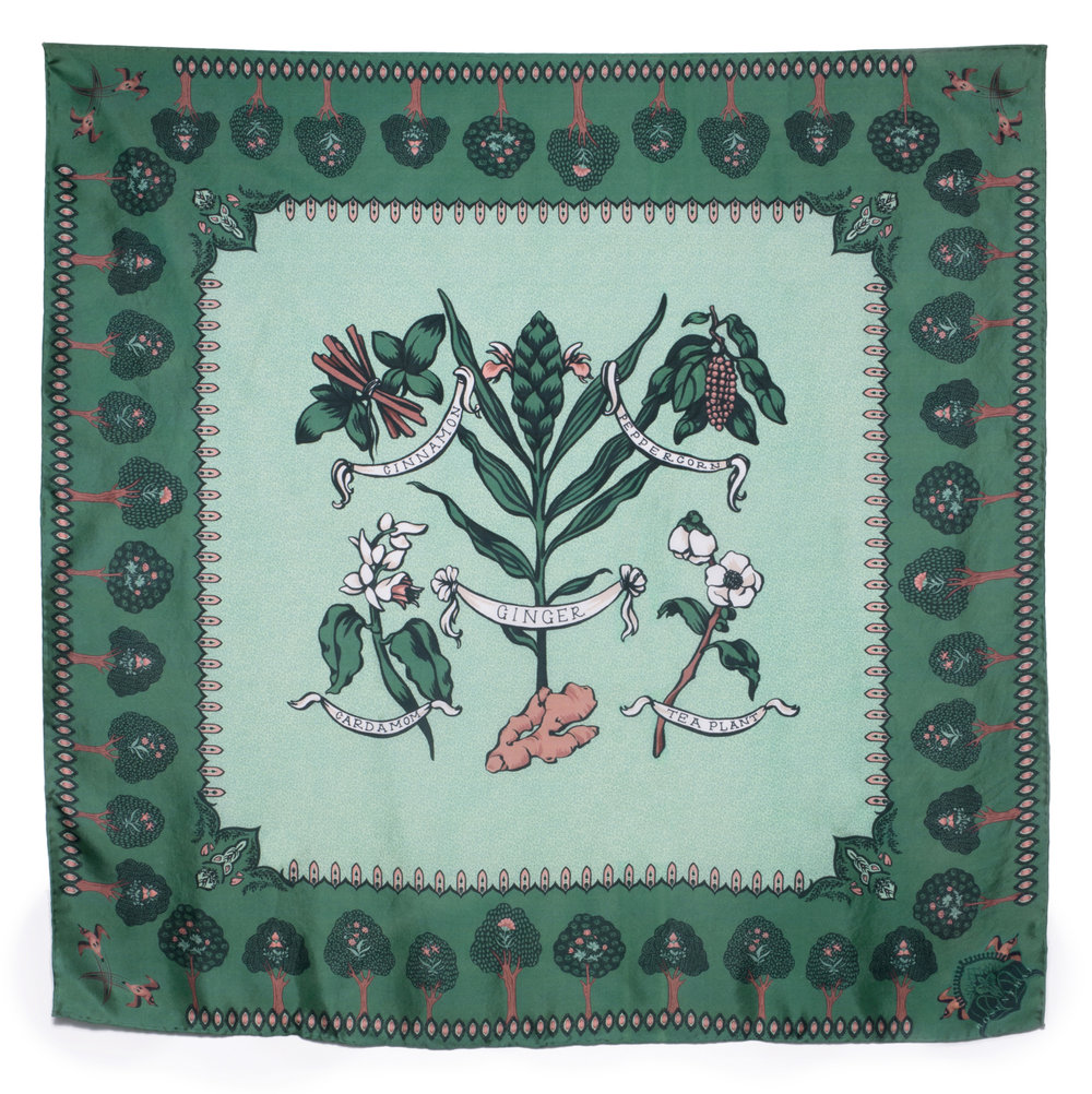 The 'Chai Botanical' Scarf - Bordered by details found in Mughal-era miniature paintings, a stylized illustration celebrates the natural ingredients used in the making of beloved Chai tea.Shop the Chai Botanical Scarf