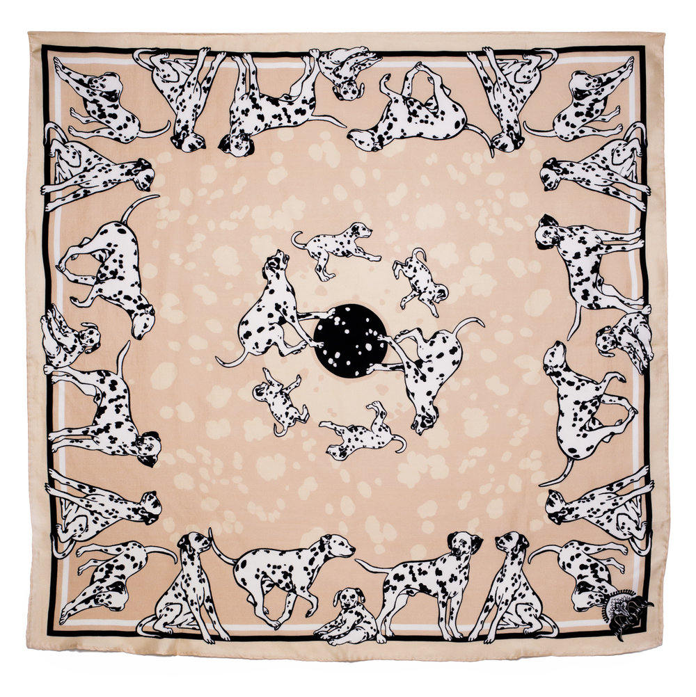The 'Dalmatian' Scarf - Inherently chic black-and-white spotted dalmatians play on the lineage of hunting dogs adorning heritage scarves. Shop the 'Dalmatian' Scarf