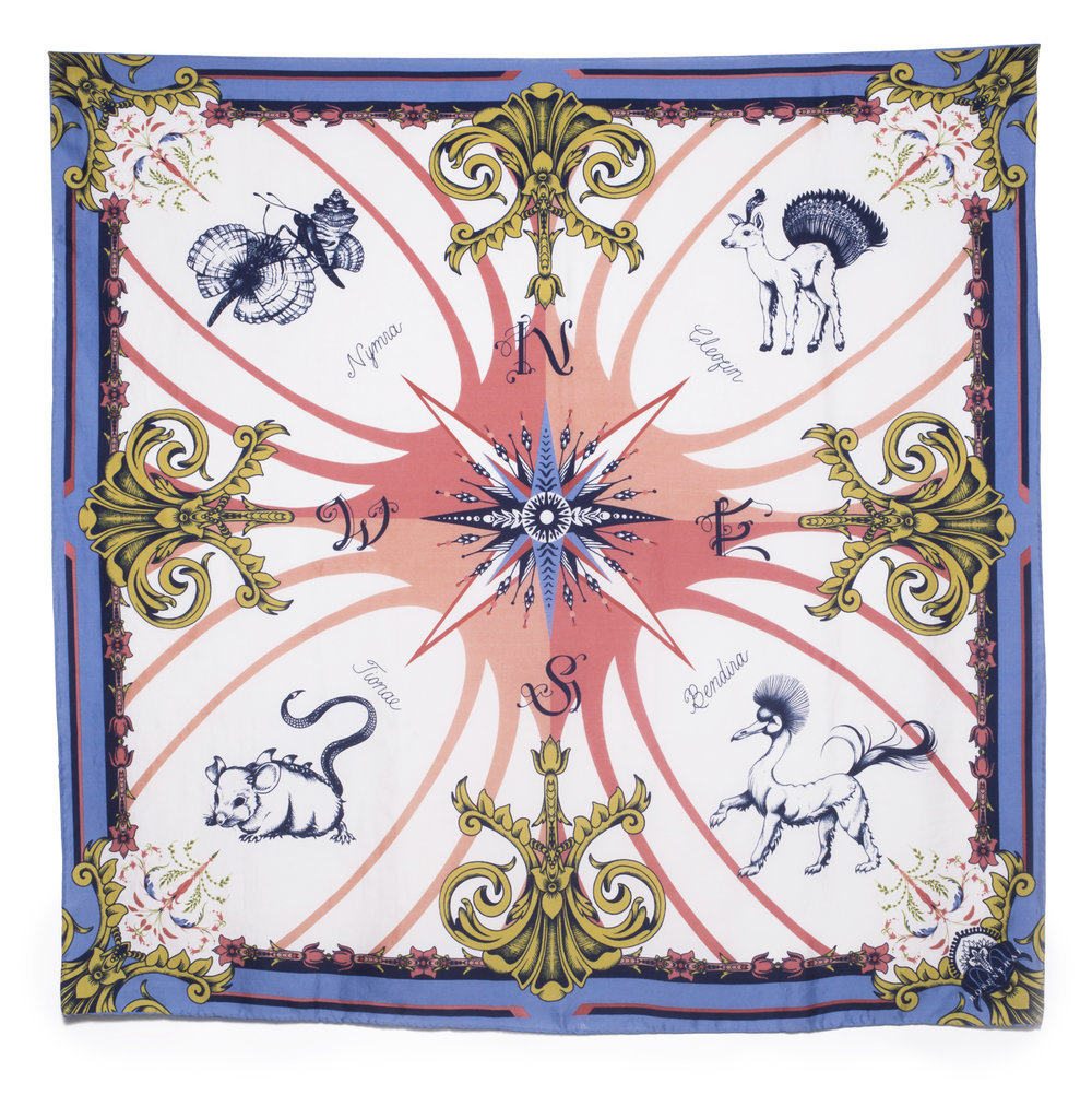 The 'Compass Rose' Scarf - Neoclassical elements are brought to life by imagined creatures in this homage to the golden age of maritime mapping. Shop The 'Compass Rose' Scarf