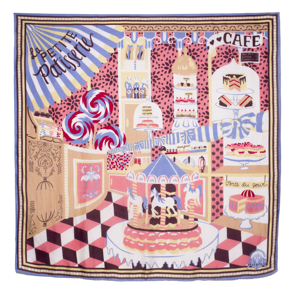 The 'La Petite Patisserie' design in its final scarf form! Printed with GOTS-certified organic inks on organic ahimsa silk.