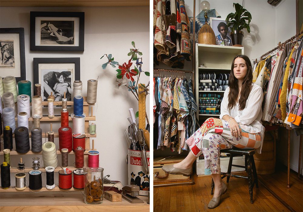 Images of Emily Adams Bode in her work space from Surface Magazine.