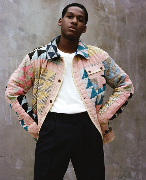 Leon Bridges in a Bode jacket, styled by Mac Huelster.