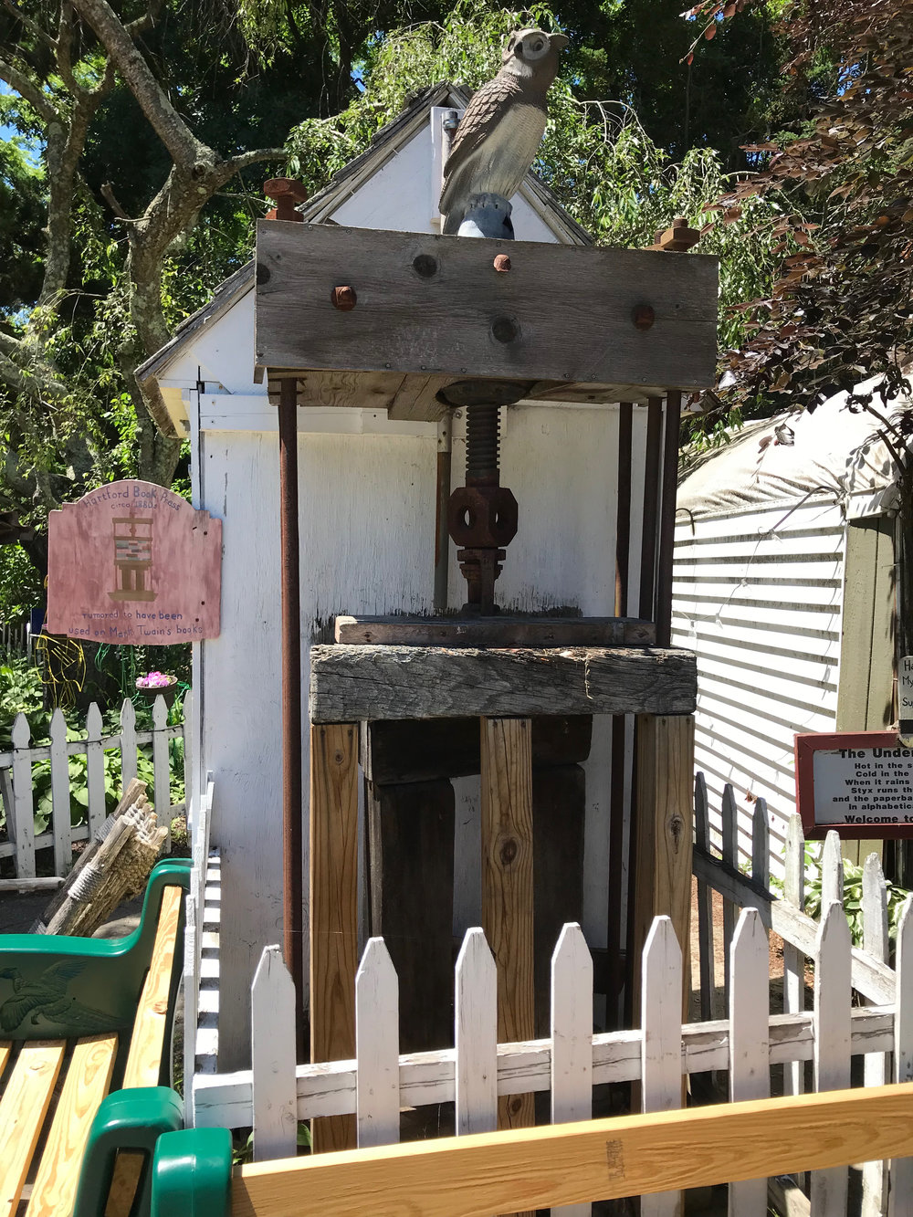 An antique book press rumored to have been used on Mark Twain's books.