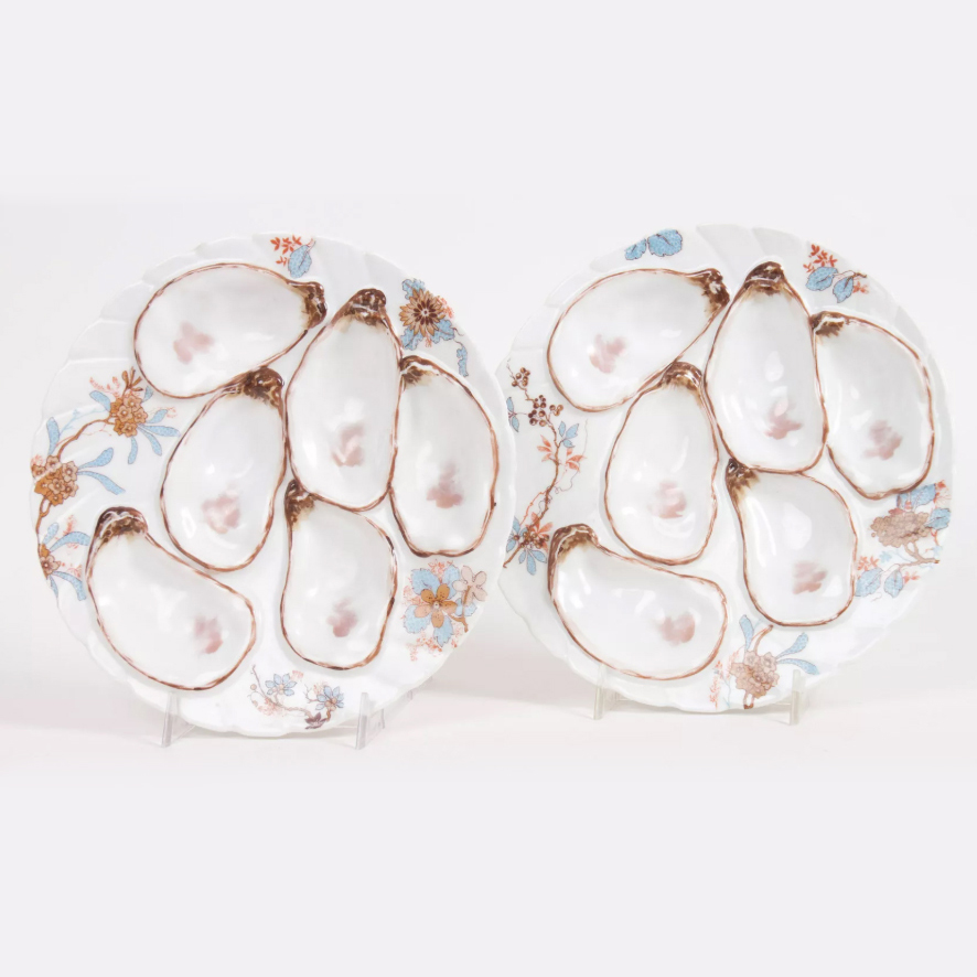 Pair of Haviland Limoges porcelain oyster plates, late 19th century.