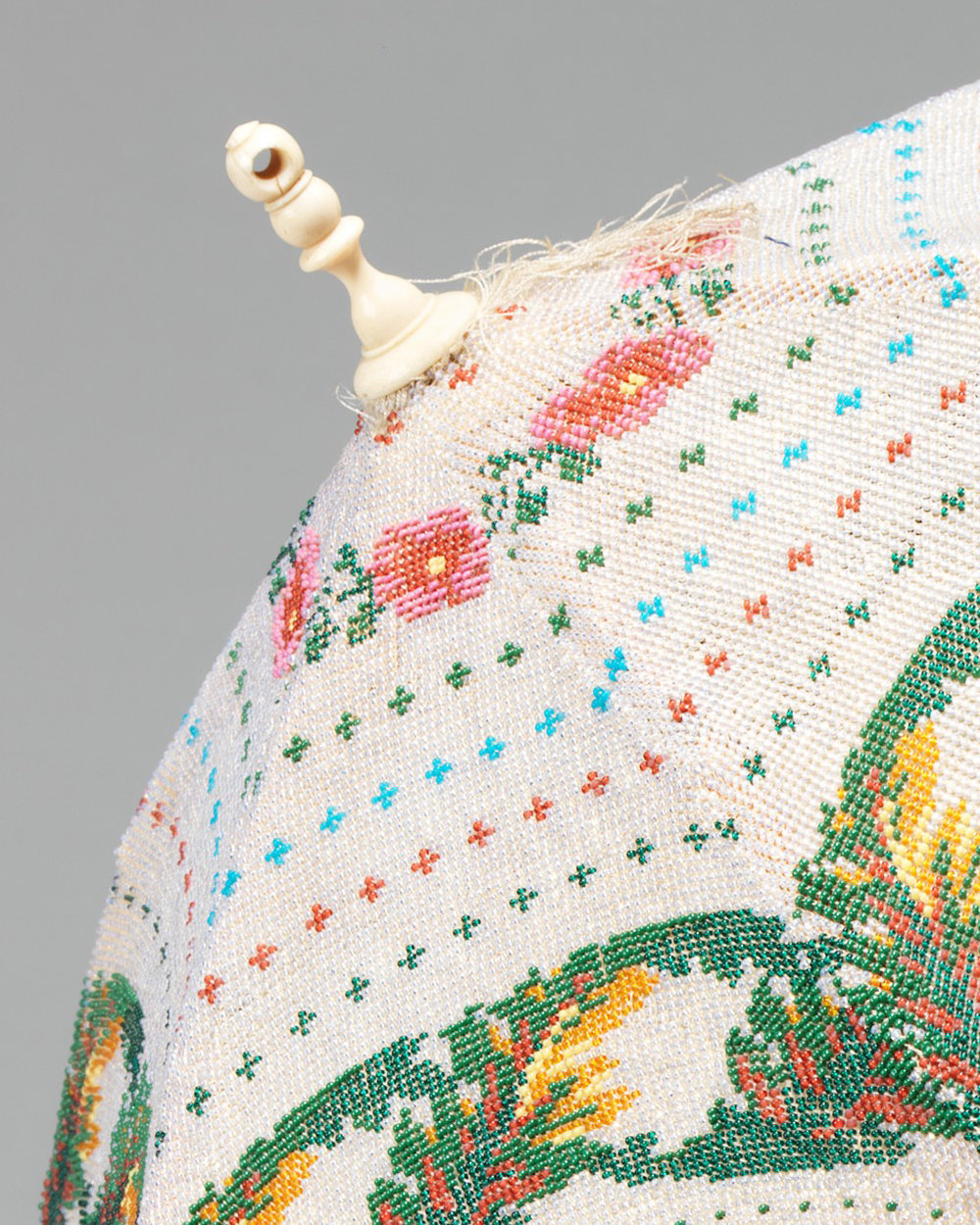 American beaded parasol, ca. 1870.  From the Brooklyn Museum Costume Collection at the Metropolitan Museum of Art.