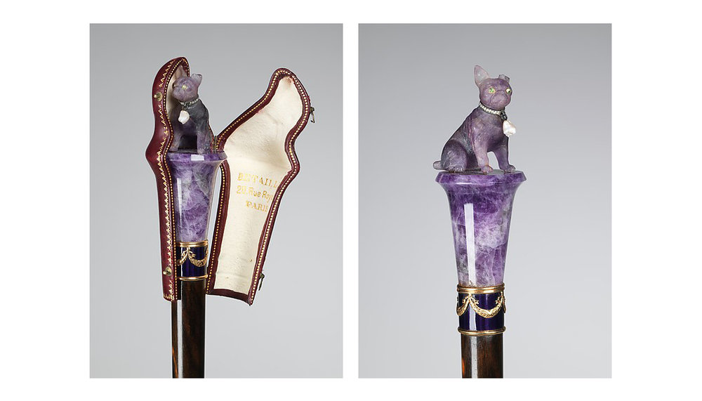 Amethyst pug knob and leather case from French manufacturer Betaille, 1900-10.  Brooklyn Museum Costume Collection at the Metropolitan Museum of Art.