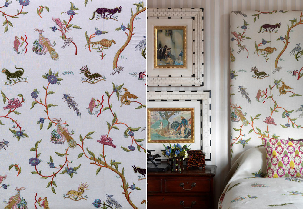 Kemp's hand embroidered fabric for Chelsea Textiles. On right, Kemp used the fabric to upholster the headboard in one of her hotel room schemes.