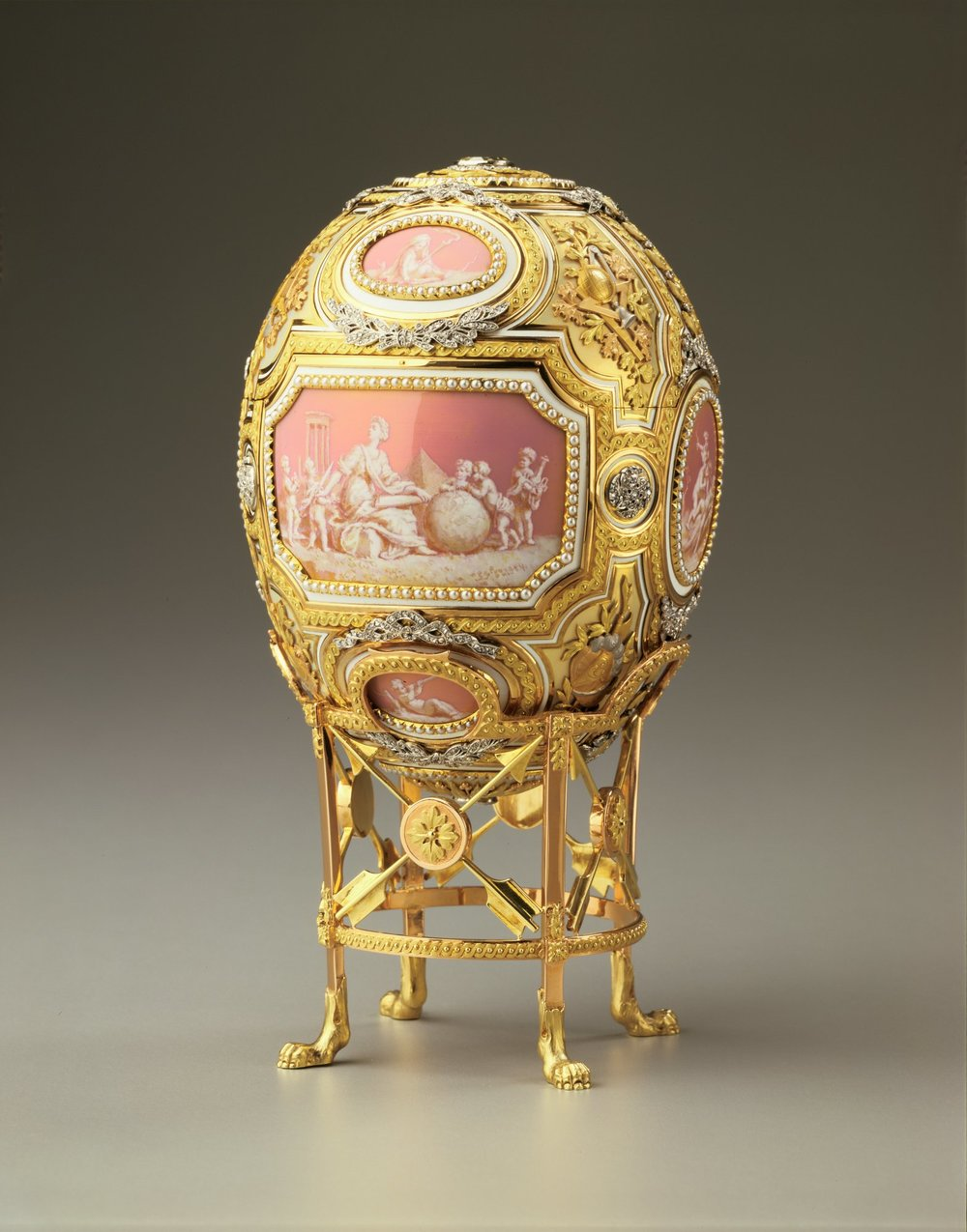 The Catherine the Great Egg also known as 'Grisaille Egg' and 'Pink Cameo' Egg, 1914.