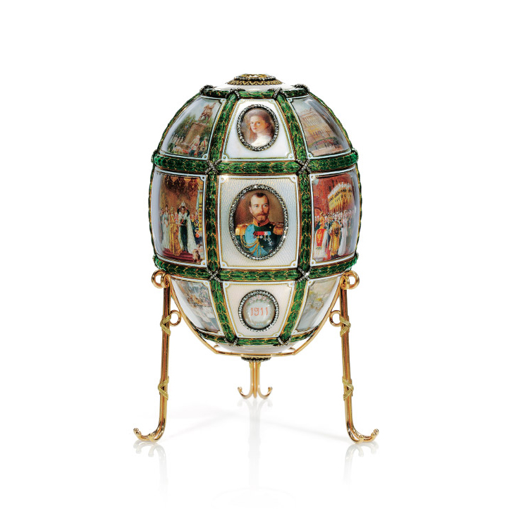 """The """"Fifteenth Anniversary Egg,"""" which commemorates the coronation of Nicholas II on 26 May 1896, was presented by Tsar Nicholas II to his wife Tsarita Alexandra Feodorovna on the Easter of 1911."""