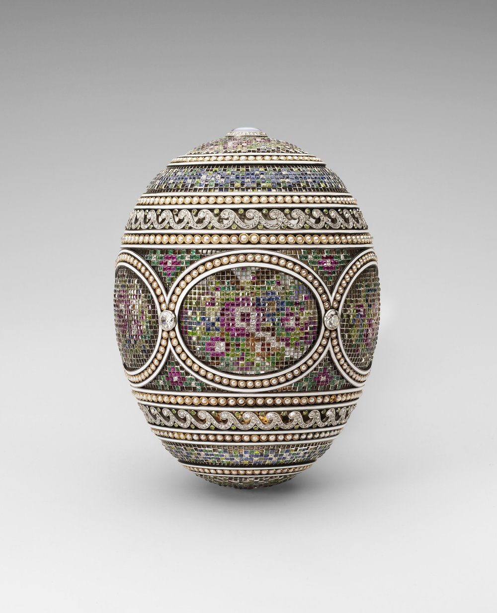 The Mosaic imperial egg, 1914, image from the Royal Collection Trust. This egg was the counterpart to the Catherine the Great Egg, and was presented to Tsarita Alexandra Feodorovna.