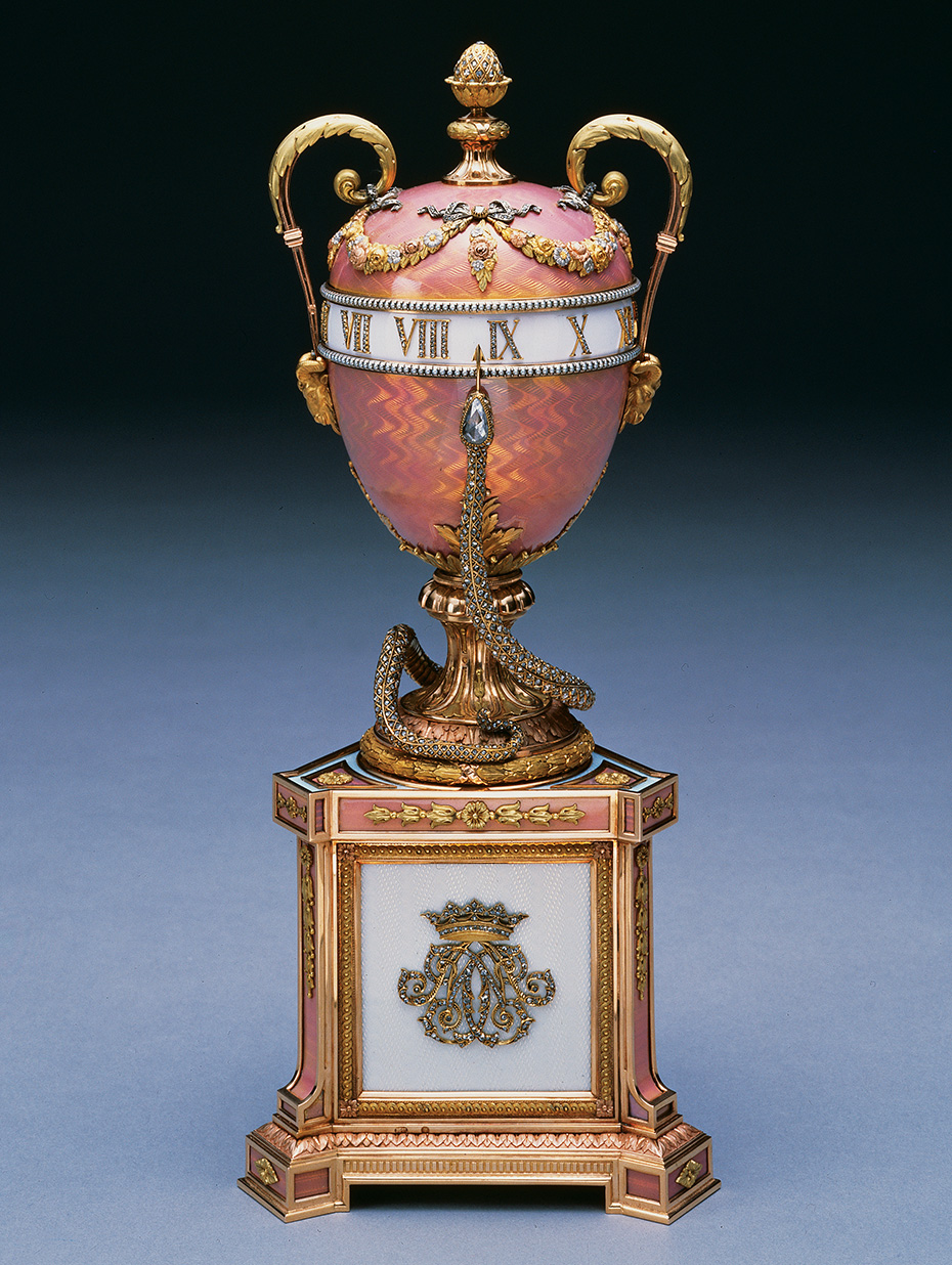 The Duchess of Marlborough Egg, also known as the Pink Serpent Egg, is the only Fabergé egg to have been commissioned by an American. The Duchess had it commissioned after seeing Fabergé eggs during a visit to the Anichkov Palace in 1902.