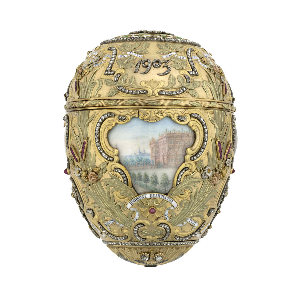 The Peter the Great Egg commemorates the bicentennial of St. Petersburg, which was founded in 1703 during the Great Northern War by Peter the Great.