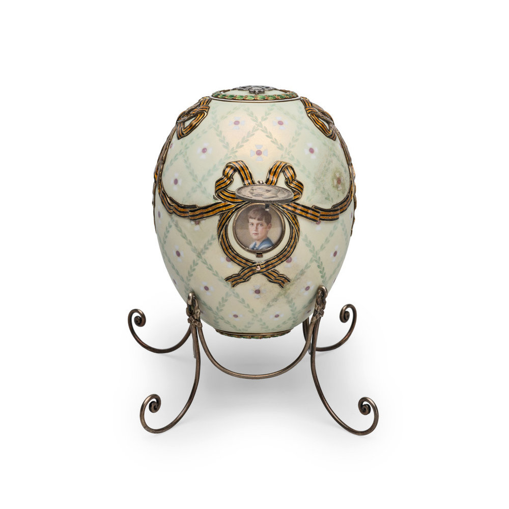The Order of St. George Egg was made to honor the prestigious military recognition that Alexei received during World War I, and was the last egg ever received by the Dowager Empress.