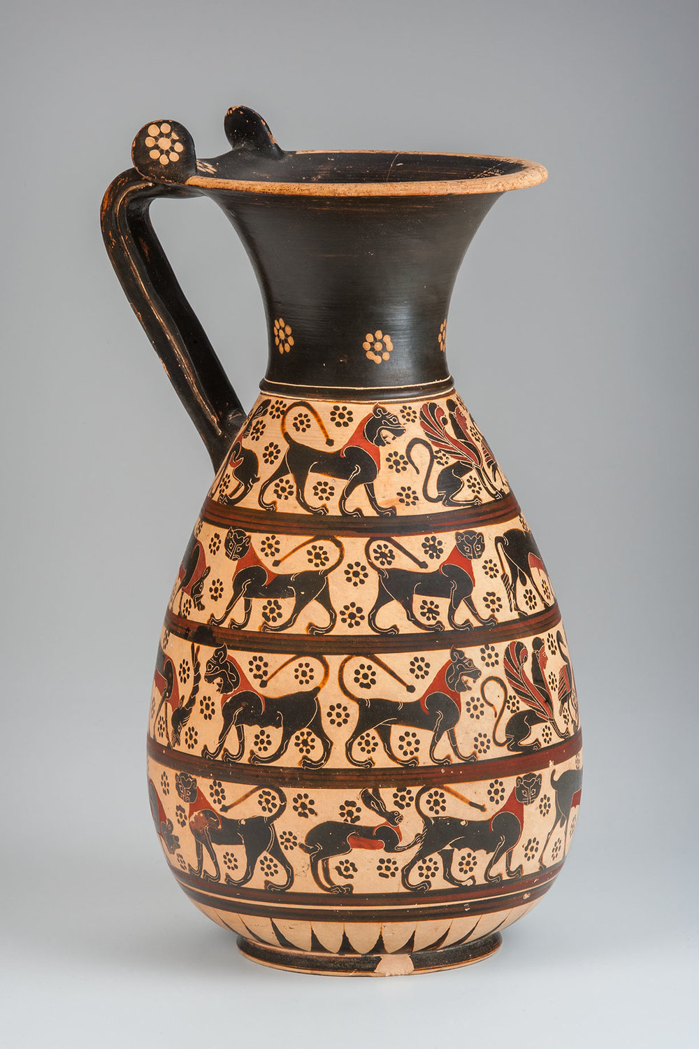 Corinthian Olpe from 6th century BCE. In the collection of the Indiana University Art Museum.