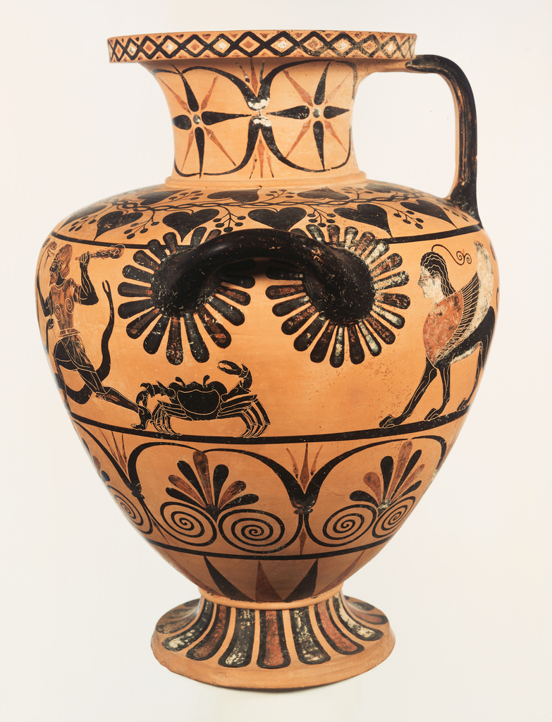 Caeretan Hydria (Water Jar) with Herakles and Iolaos attacking the Hydra. Attributed to Eagle Painter (Greek), active 530 - 500 B.C. Currently in the Getty Museum collection.