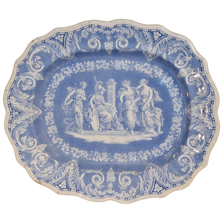 Platter in Etruscan pattern by Elkin Knight and Bridgewood of Staffordshire, circa 1820-1830. Available through 1st Dibs.