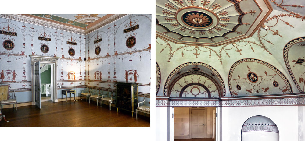 """Robert Adam's Etruscan Dressing Room, designed for Osterley Park, 1773-74; the Adam style was a highly influential Neoclassical interior design and architectural style which """" found its niche from the late 1760s in upper-class and middle-class residences in 18th-century England, Scotland, Russia. """""""