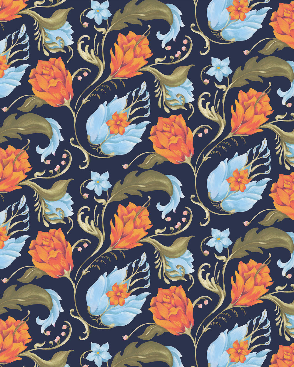Designs by Katy Rosenthal Renaissance Floral Navy.jpg