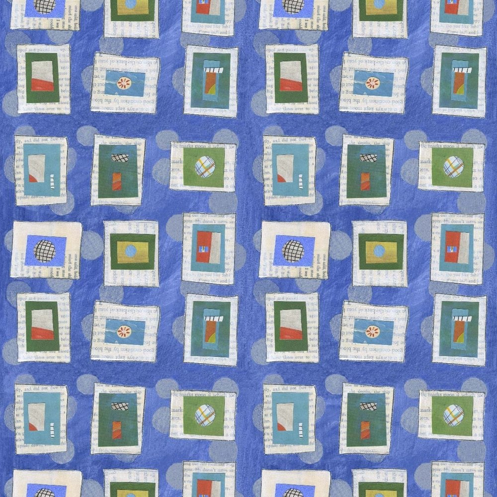 Blue Square Dance Collage Pattern