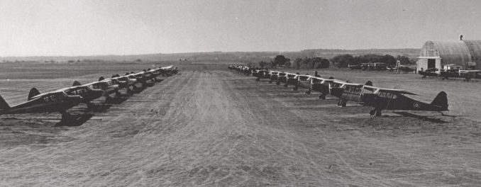 A dirt field served local aviators in July 7, 1944