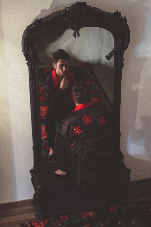 Vahan Khachatryan Couture  customized kimono jacket x  Maison Margiela  trousers x  Stubbs & Wootton  slippers