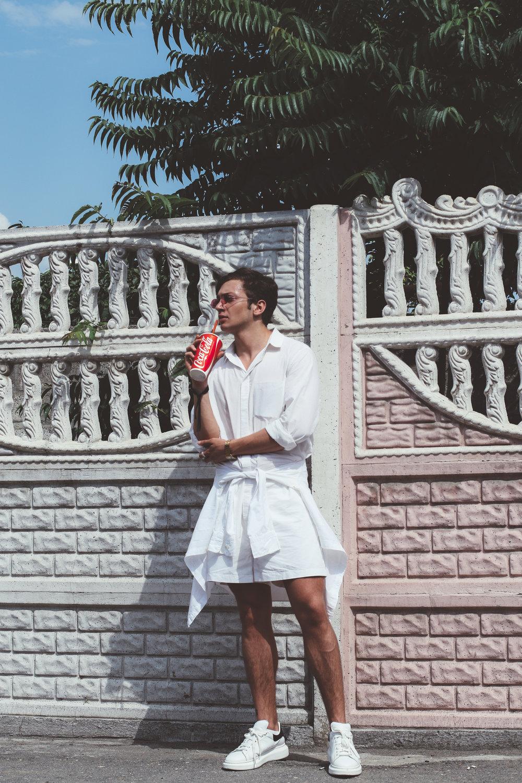 Mykita x Maison Margiela sunglasses x Acne Studios jumpsuit x Alexander McQueen oversize sneakers